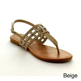 Rck Bella Women's 'Atina-15' Rhinestone and Laser-cut Flat Sandals