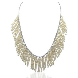 Gioelli Sterling Silver Freshwater Pearl Fringe Bib Necklace (2 mm)