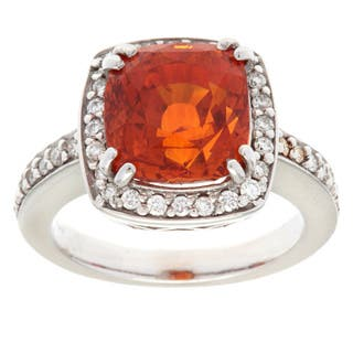 Pre-owned 18k White Gold 3/5ct TDW Orange Sapphire Ballerina Ring (I-J, SI1-SI2)|https://ak1.ostkcdn.com/images/products/9079152/P16270414.jpg?impolicy=medium