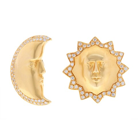 Pre-owned 18k Yellow Gold 1 3/4ct TDW Sun and Moon Estate Earrings (E-F, VS1-VS2)
