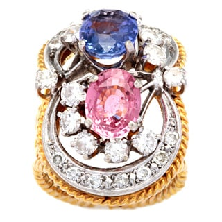 Pre-owned 18k Yellow Gold 1 1/5ct TDW Amethyst and Pink Tourmaline Estate Cocktail Ring (I-J, SI1-SI2)