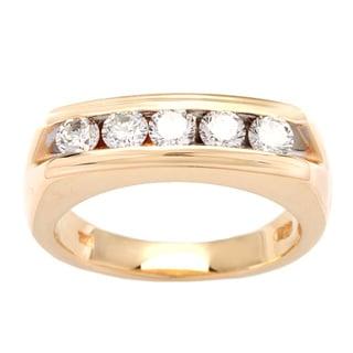 Pre-owned 14k Yellow Gold 1ct TDW White Diamond Five-stone Ring (H-I, VS1-VS2)