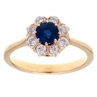 Pre-owned 14k Yellow Gold 1/2ct TDW Diamond and Sapphire Estate Halo Ring