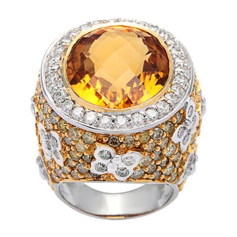18k White Gold 7 3/4ct TDW Diamond Giant Topaz Dome Estate Ring