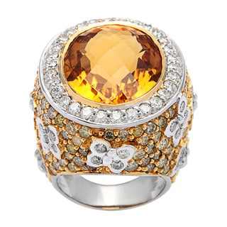 Pre-owned 18k White Gold 7 3/4ct TDW Diamond and Giant Topaz Dome Estate Ring (G-H, I1-I2)