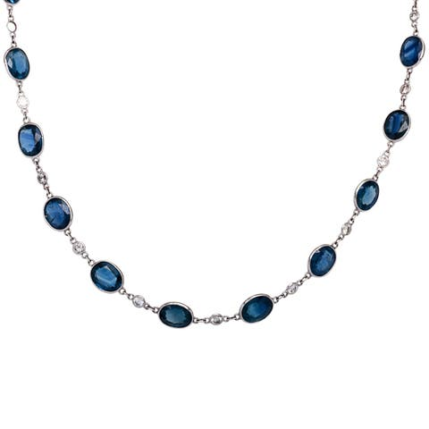 Platinum 1 1/5ct TDW Diamonds and Sapphires by the Yard Estate Necklace (I-J, SI1-SI2)