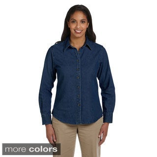 Harriton Women's Long Sleeve Denim Shirt