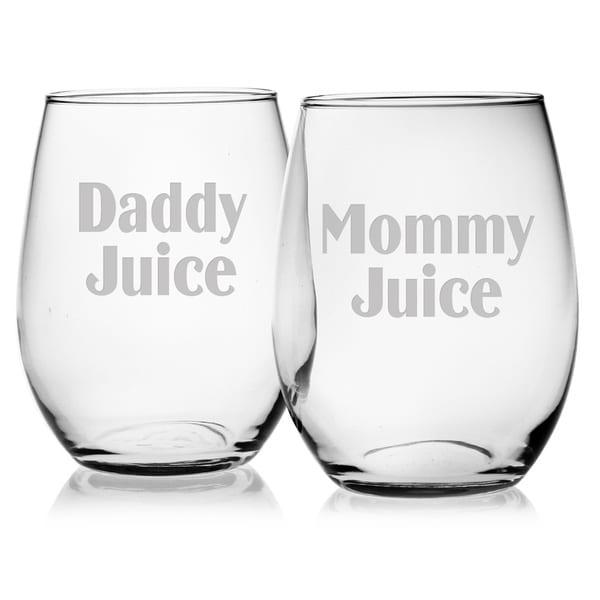 mommydaddy juice stemless wine glasses set of 2