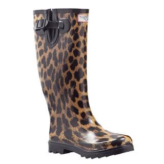 Shop Women S Leopard Print Mid Calf Rain Boots Free