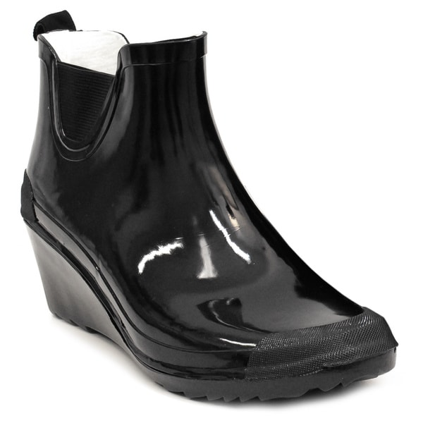 Women's Black Wedge-heel Ankle Rain Boots - Free Shipping Today ...