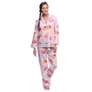 Aegean Apparel Women's 'Coffee & Desserts' Printed Flannel Pajamas