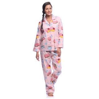 Aegean Apparel Women's 'Coffee & Desserts' Printed Flannel Pajamas