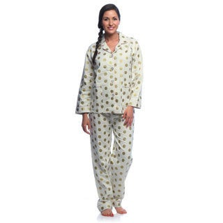 Aegean Apparel Women's Gold Dot Printed Flannel Pajama Set
