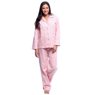 Aegean Apparel Women's Gingham Printed Flannel Pajama Set