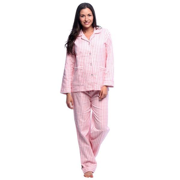 Shop Aegean Apparel Women's Gingham Printed Flannel Pajama ...