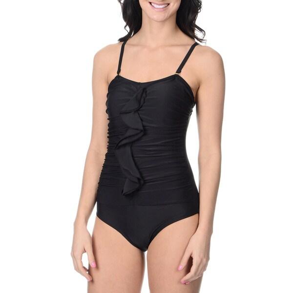 Alicia Simone Women's Black Ruffle-front One-piece Swimsuit