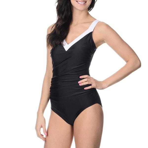 Alicia Simone Women's Black Drape-front Color Block One-piece Swimsuit