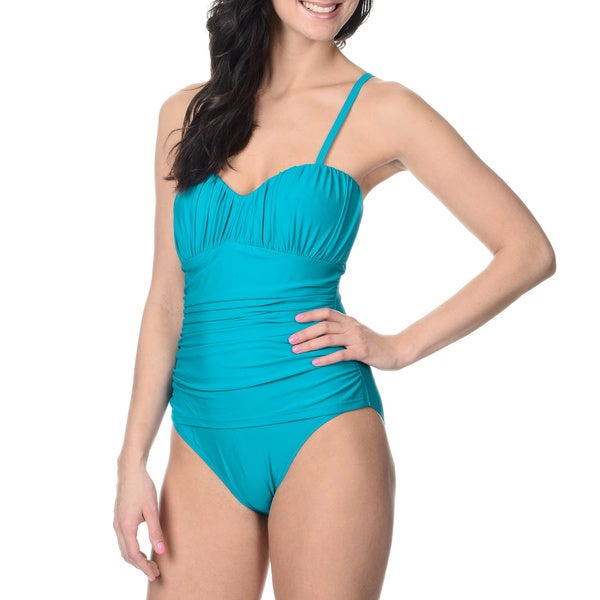 Alicia Simone Women's Solid Turquoise Drape-front One-piece Swimsuit