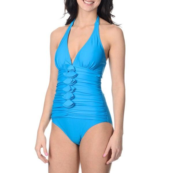 Alicia Simone Women's Turquoise Ruffle-front Halter One-piece Swimsuit