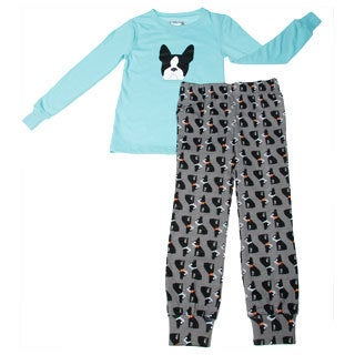 Girls Boston Terrier Printed Long Sleeve Pajama Set