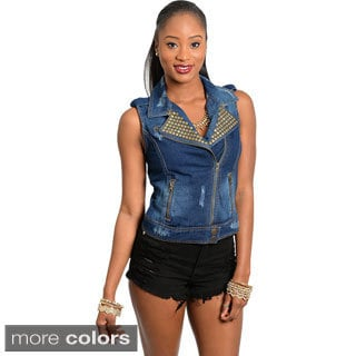 Stanzino Women's Sleeveless Studded Denim Vest