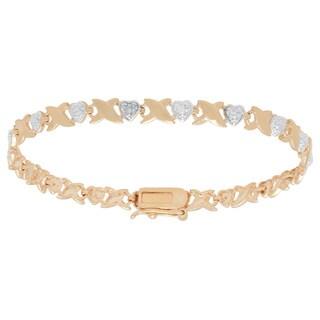 Finesque Two-tone Sterling Silver Diamond Accent XO Heart Design Bracelet (I-J, I2-I3)