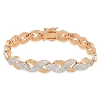 Finesque 18k Yellow Gold Overlay 1/4ct TDW Diamond XO Design Bracelet