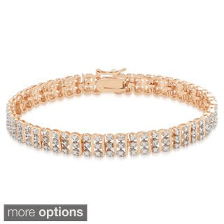 Finesque Gold or Silverplated Diamond Accent 'S' Design Bracelet (I-J, I2-I3)