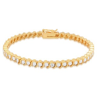 Finesque 14k Gold Overlay Diamond Accent Tennis Bracelet (I-J, I2-I3)