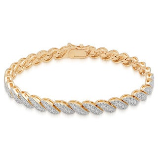 Finesque Yellow 14k Gold Overlay 1/4ct TDW Diamond Link Bracelet