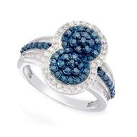 Sterling Silver 1 1/5ct TDW Blue and White Diamond Ring