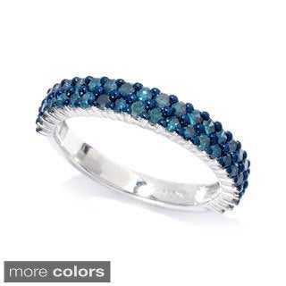 Sterling Silver 1ct TDW Colored Diamond Double Row Ring