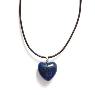 Every Morning Design Lapis Heart Brown Leather Necklace