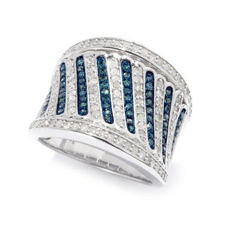 Sterling Silver 1 1/10ct TDW Blue and White Diamond Ring