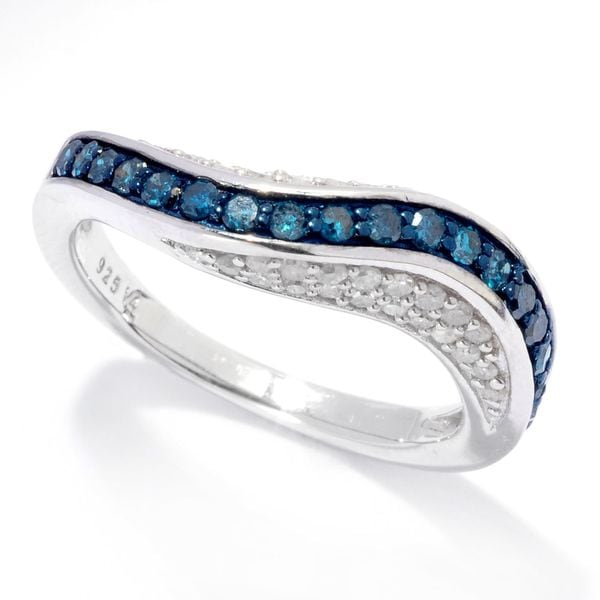 Sterling Silver 3/4ct TDW Blue and White Diamond Wave Band Ring