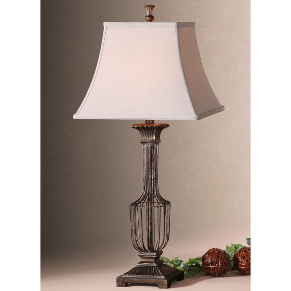Uttermost Anacapri Antiqued Metal Wire and Fabric Table Lamp