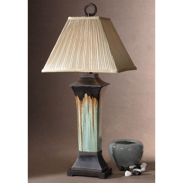 Uttermost Olinda Table Light Green/ Metallic Brown Melt Ceramic Table Lamp