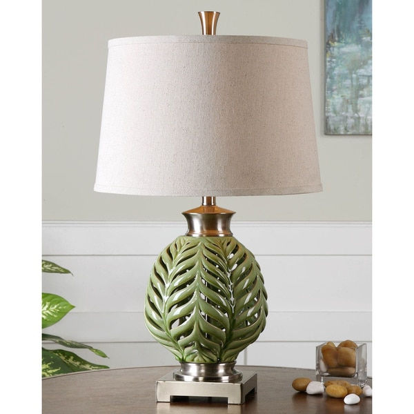 Shop uttermost flowing fern lime green ceramic and metal table lamp uttermost flowing fern lime green ceramic and metal table lamp mozeypictures Choice Image