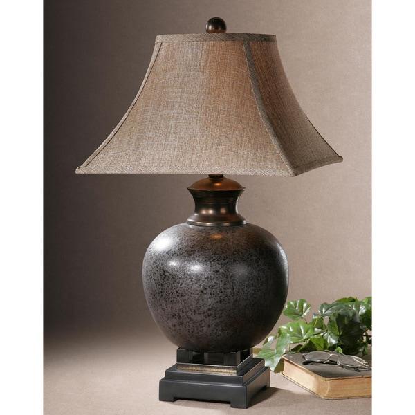 Uttermost Villaga Mottled Rust Brown Ceramic and Resin Table Lamp
