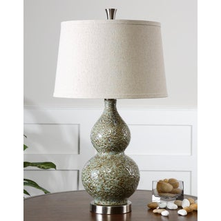 Uttermost Hatton Pale Green and Ivory Dimpled Ceramic Table Lamp