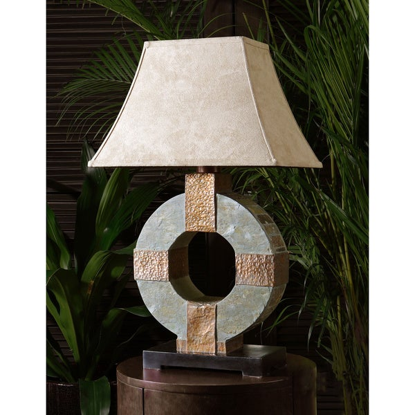 Uttermost Hand-carved Slate and Hammered Copper Table Lamp