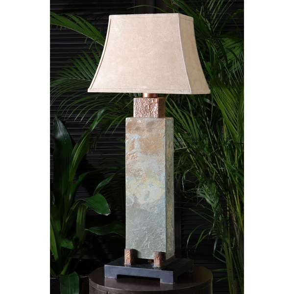 Wonderful Shop Uttermost Hand Carved Slate And Hammered Copper Long Table Lamp   Free  Shipping Today   Overstock   9079547