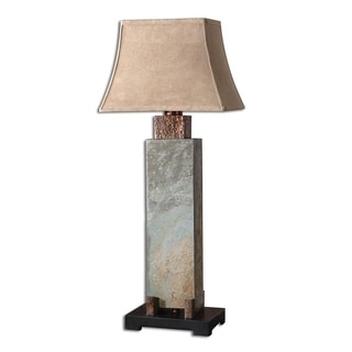 Uttermost Hand Carved Slate And Hammered Copper Long Table Lamp