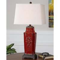 Shop distressed red column table lamp free shipping today uttermost centralia deep red glass and ceramic table lamp aloadofball Images