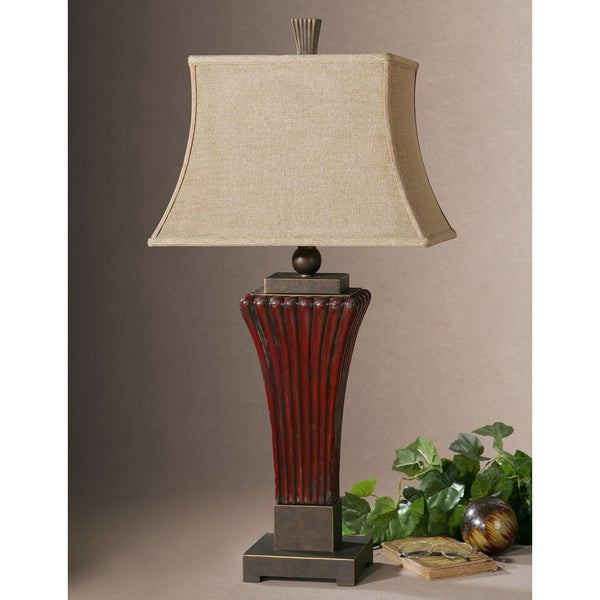 Shop Uttermost Rosso Dark Red Ribbed Table Lamp Free Shipping