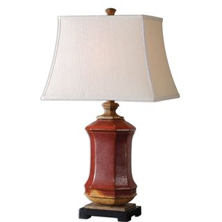 Uttermost Fogliano Rustic Red Ceramic Table Lamp