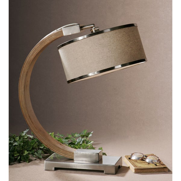 Uttermost metauro wood metal fabric table lamp free for Home design zymeth aluminum table lamp