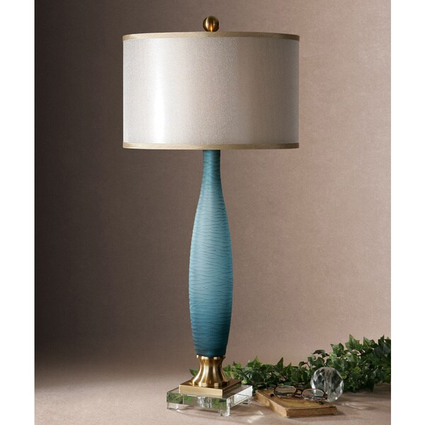 Uttermost Alaia Metal Fabric Glass Crystal Table Lamp