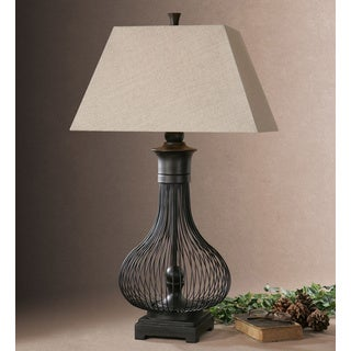 Uttermost Horatio Metal Poly Oatmeal Linen Fabric Table Lamp