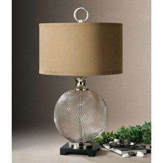 Uttermost Catalan Resin Mesh Metal Base Bronze Fabric Table Lamp